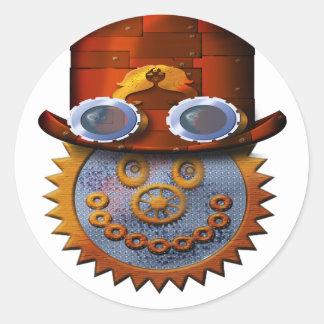 steampunk smiley classic round sticker