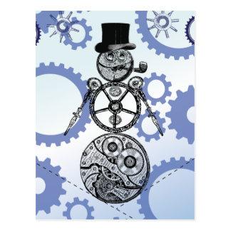 Steampunk Snowman Gear Design Postcard