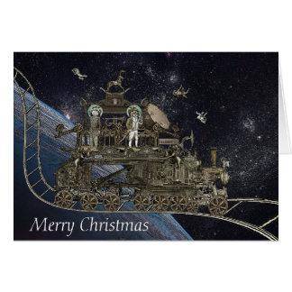 Steampunk Space Cat Train Card