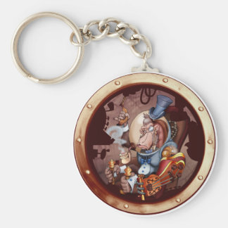 Steampunk Space Chimp Porthole Chain Keychain