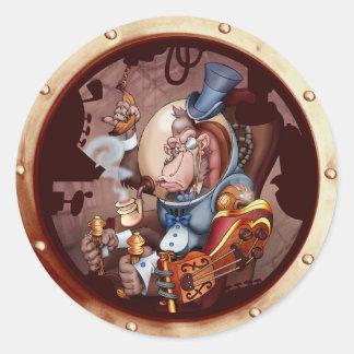Steampunk Space Chimp Porthole Sticker