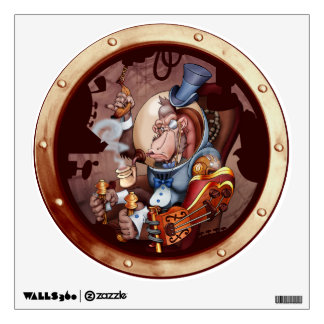 Steampunk Space Chimp Wall Cling Room Sticker