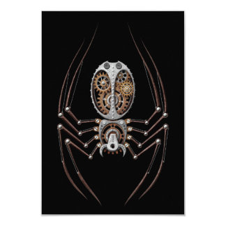 Steampunk Spider on Black Personalized Invites