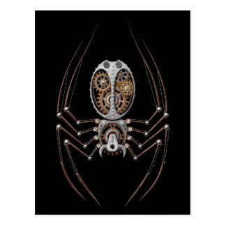 Steampunk Spider on Black Postcard
