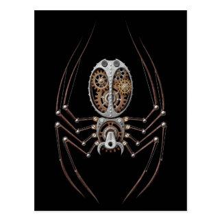 Steampunk Spider on Black Postcard