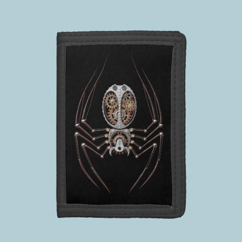 Steampunk Spider on Black Tri-fold Wallets