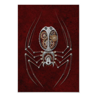 Steampunk Spider on Deep Red Personalized Announcement