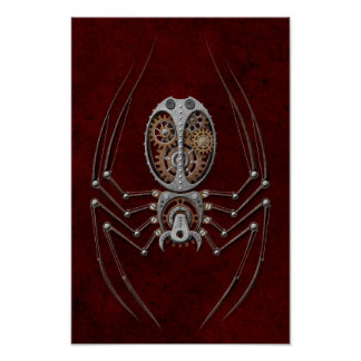Steampunk Spider on Deep Red Poster