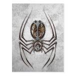 Steampunk Spider on Rough Steel Postcard