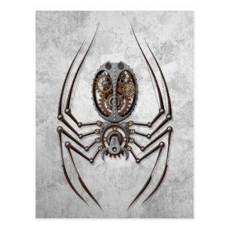 Steampunk Spider on Rough Steel Postcards