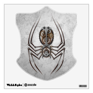 Steampunk Spider on Rough Steel Wall Graphic