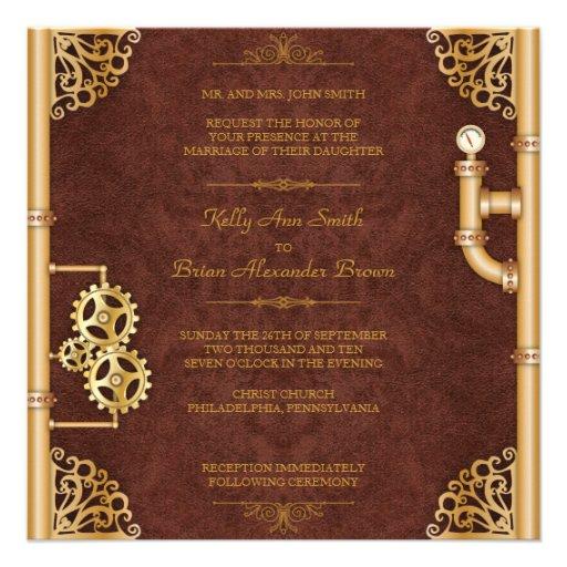 Steampunk Square Invitation