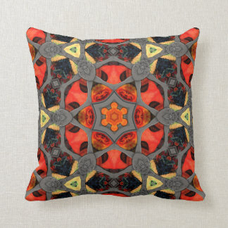 Steampunk Stained Glass Mandala Throw Pillow