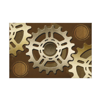 Steampunk Stainless Gears Canvas Print