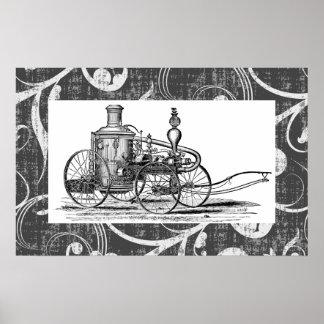 Steampunk Steam Fire Engine Poster