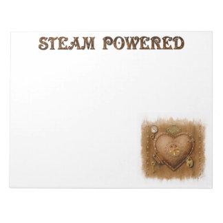 Steampunk Steam Powered Heart Notepad Lg