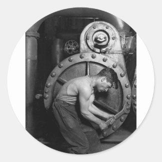 Steampunk Steam Pump Mechanic Classic Round Sticker
