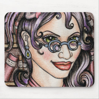 Steampunk Steamface Librarian Mouse Pad