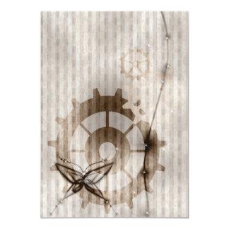Steampunk Striped Damask Gears Wedding Invitation
