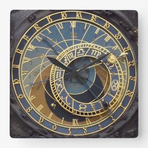 Steampunk style astronimical prague square wall clock zazzle for Steampunk wall clocks for sale