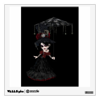 Steampunk style girl wearing black dress with red wall decal