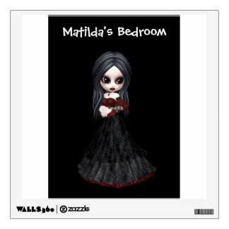 Steampunk style girl wearing black dress with red wall sticker