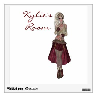 Steampunk style girl wearing red dress wall graphic