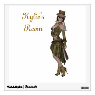 Steampunk style pretty girl wearing hat and boots wall skins