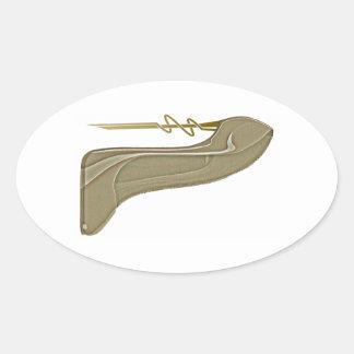 Steampunk Style Stiletto Shoe Art Oval Sticker