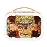 Steampunk sugar girly skull in vintage glasses lunchbox