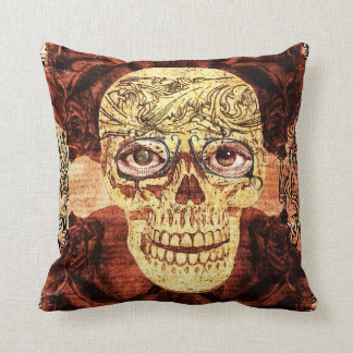 steampunk sugar skull - with vintage glasses pillow