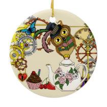 Steampunk Tea Time Owl Ceramic Ornament