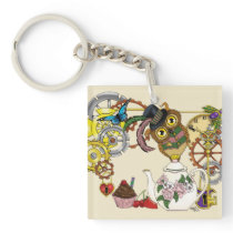 Steampunk Tea Time Owl Keychain