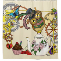 Steampunk Tea Time Owl Shower Curtain
