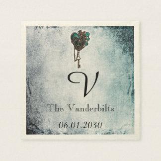 Steampunk Teal Heart Monogram Wedding Napkin Paper Napkins
