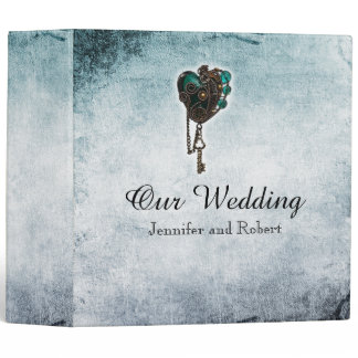 Steampunk Teal Heart Wedding Binder