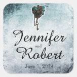Steampunk Teal Heart Wedding Envelope Seal Square Sticker