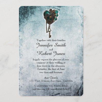 Steampunk Teal Heart Wedding Invitation