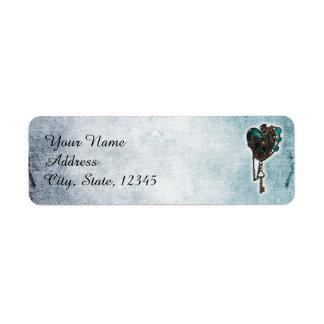Steampunk Teal Heart Wedding Label Return Address Label