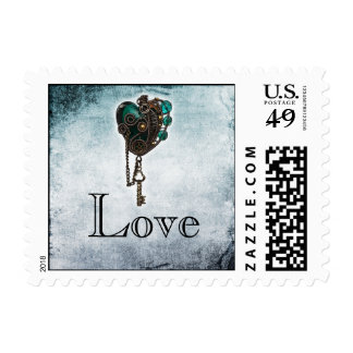 Steampunk Teal Heart Wedding Postage Stamp