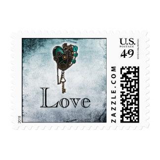 Steampunk Teal Heart Wedding Postage Stamp