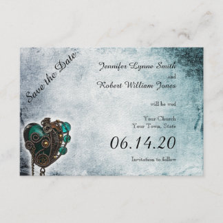 Steampunk Teal Heart Wedding Save the Date