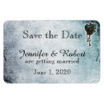 Steampunk Teal Heart Wedding Save the Date Rectangle Magnet