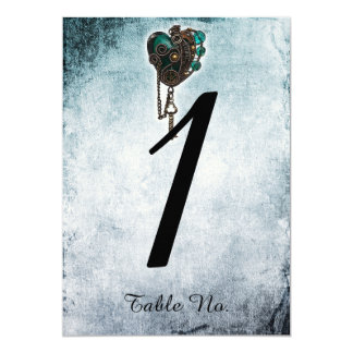 Steampunk Teal Heart Wedding Table Number
