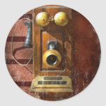 Steampunk - teléfono Phace Pegatina Redonda