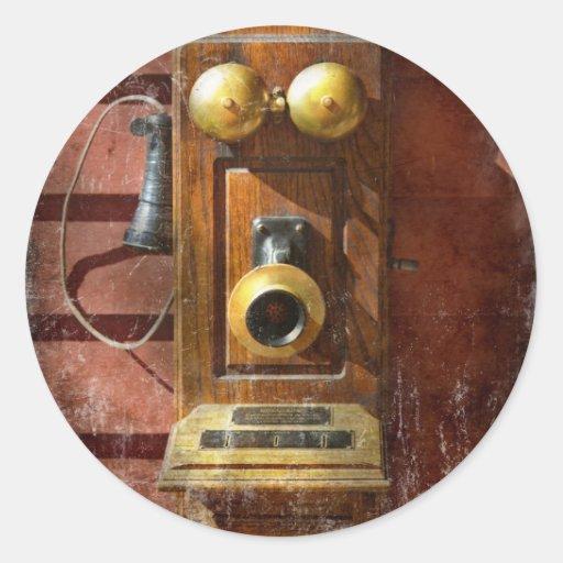 Steampunk - teléfono Phace Pegatinas Redondas