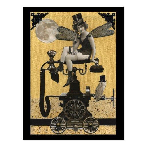 Steampunk Telephone Fairy Postcard