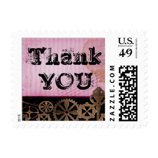 Steampunk thank you design with funky font postage