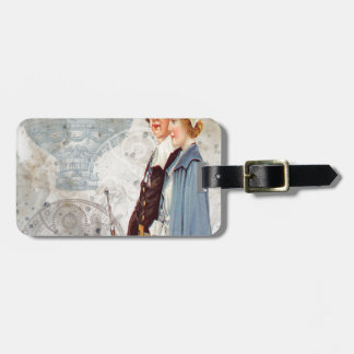 Steampunk Thanksgiving Couple Steam Punk Pilgram Tags For Luggage