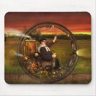 Steampunk - The gentleman's monowheel Mouse Pad